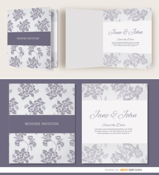 Open Gray Floral Wedding Invitation Free Vector