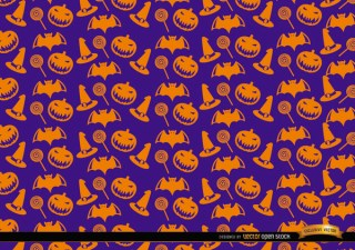 Orange Halloween Objects Texture on Purple Background Free Vector