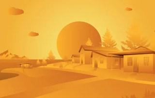 Orange Landscape Free Vector
