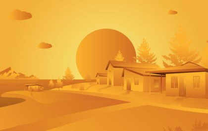 Orange Landscape Free Vector