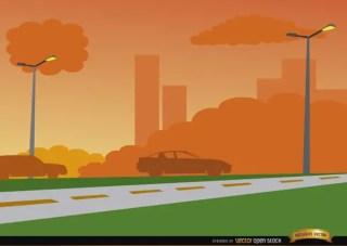 Orange Sunset on City Road Background Free Vector