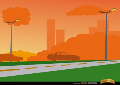Orange Sunset on City Road Background Free Vector