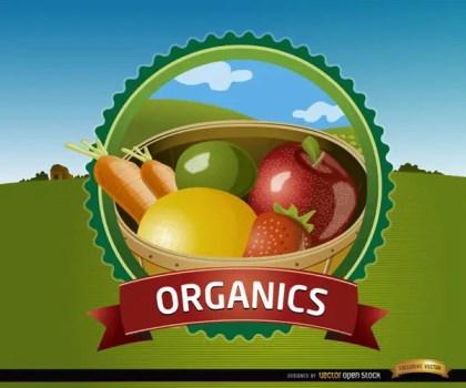 Organic Fruits Seal Free Vector