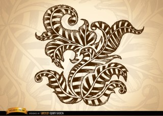 Ornamental Swirls and Leaves Drawing Free Vector