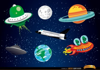 Outer Space Cartoon Elements Free Vector