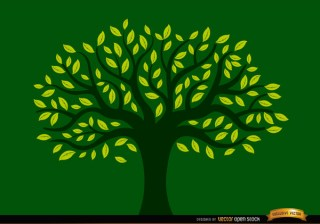Painted Tree Full Of Yellow Leaves Free Vector