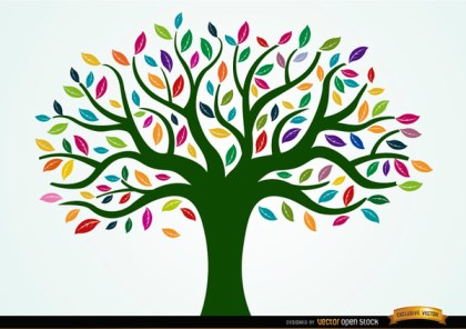 Painted Tree with Colored Leaves Free Vector