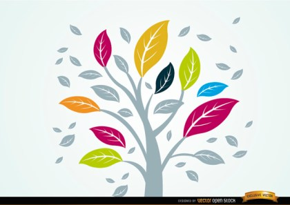 Pale Plant with Colorful Leaves Free Vector