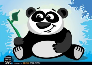 Panda Bear Animal with Bamboo Branch Free Vector