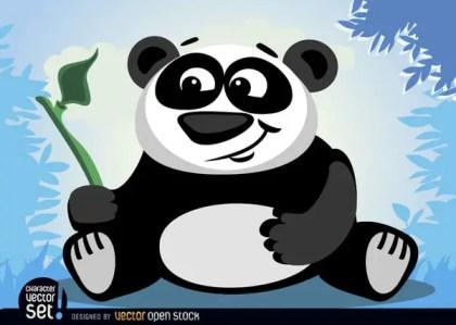 Panda Bear Animal with Bamboo Branch Free Vector