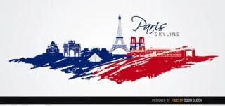 Paris Skyline Flag Colors Background Free Vector