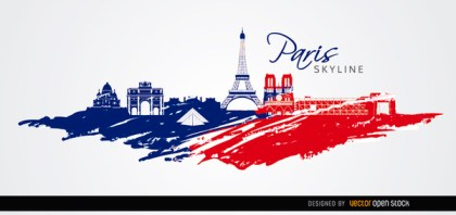 Paris Skyline Flag Colors Background Free Vector