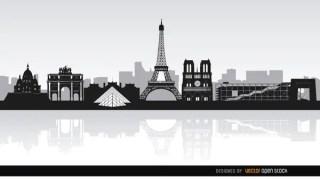 Paris Skyline Landmarks Background Free Vector