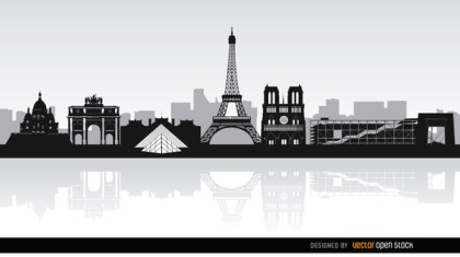 Paris Skyline Landmarks Background Free Vector