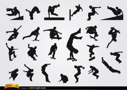 Parkour and Skateboarding Silhouettes Free Vector