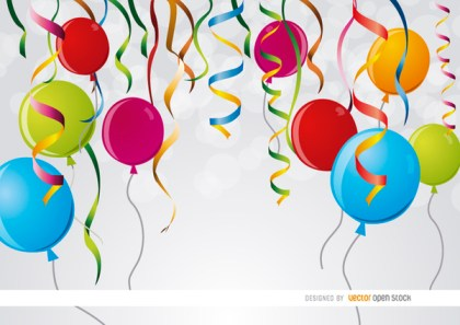 Party Ribbons Balloons Background Free Vector