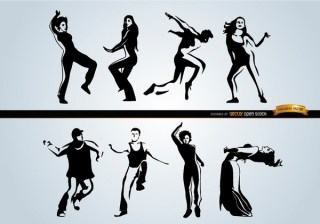 People Dancing Different Styles Free Vector