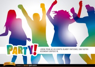 People Dancing In Party Promo Free Vector