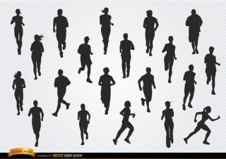 People Jogging Silhouettes Free Vector