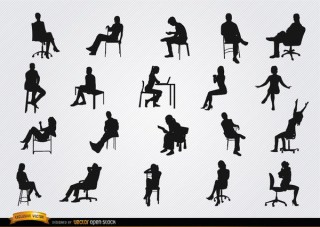 People Sitting In Chairs Silhouettes Free Vector