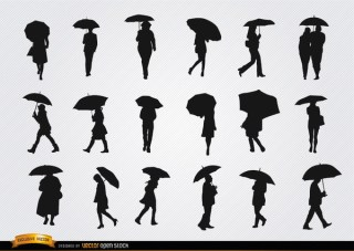 People Walking with Umbrella Silhouettes Set Free Vector