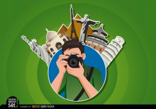 Photographer Logo with Landmarks Free Vector