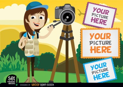 Photographer with Camera and Picture Frames Free Vector