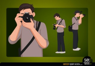 Photographer Young Character Free Vector