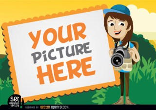 Picture Frame with Camera Girl Free Vector