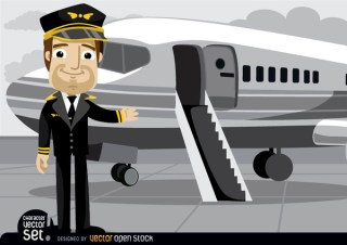 Pilot In Front Of Plane Free Vector