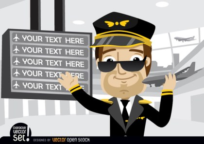 Pilot Showing Airport Board Texts Free Vector