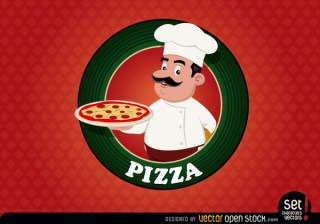 Pizza Logo Seal with Chef Free Vector