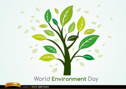 Plant and Leaves World Environment Day Free Vector