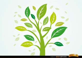 Plant with Leaves In The Wind Free Vector
