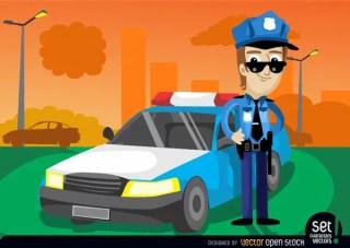 Policeman with His Cop Car Free Vector