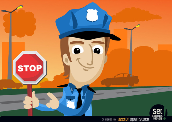 Policeman with Stop Warning Free Vector