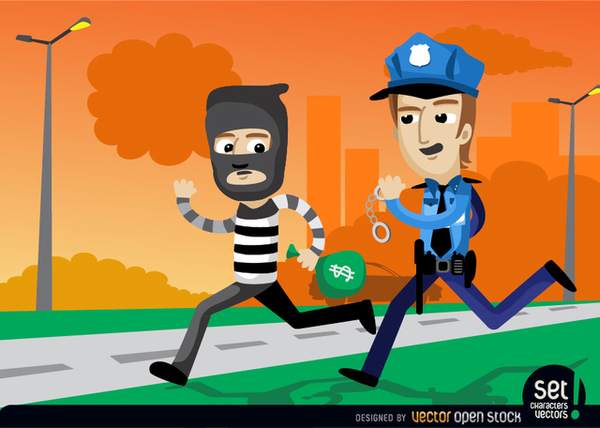 Policemen Catching A Bank Robber Free Vector