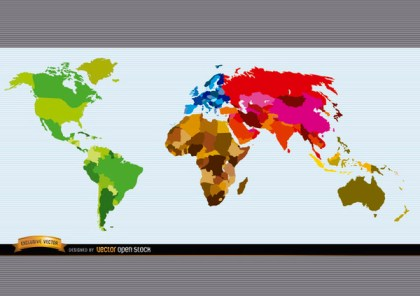 Political World Map Colored Free Vector