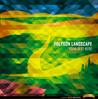 Polygon Road and Mountains Landscape Free Vector