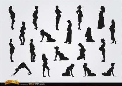 Pregnant Woman Silhouettes Free Vector