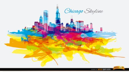 Psychedelyc Colorful Chicago Skyline Free Vector