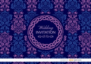 Purple Blue Celtic Floral Wedding Invitation Free Vector