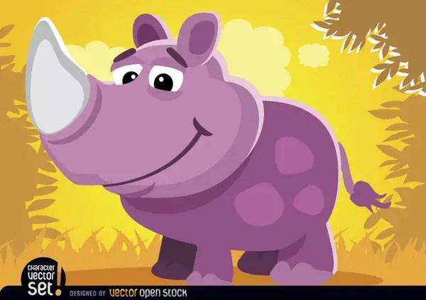 Purple Rhino In Jungle Cartoon Animal Free Vector