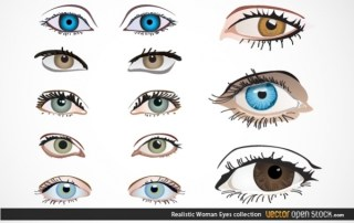 Realistic Woman Eyes Collection Free Vector