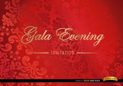 Red Floral Invitation Card Free Vector