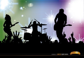 Rock Band Crowd Concert Silhouettes Background Free Vector