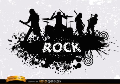 Rock Band Grunge Silhouette Free Vector