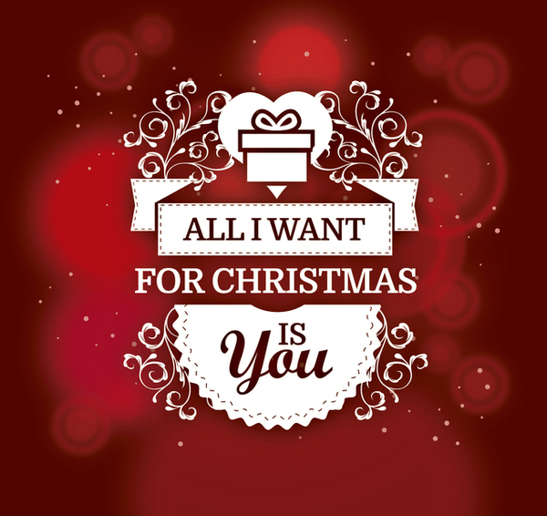 Romantic Christmas Gift Background Free Vector