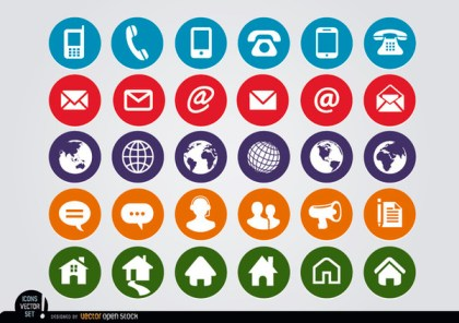 Round Web Contact Icons Set Free Vector