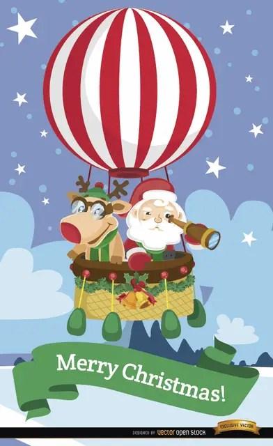 Santa and Reindeer Hot Air Balloon Free Vector